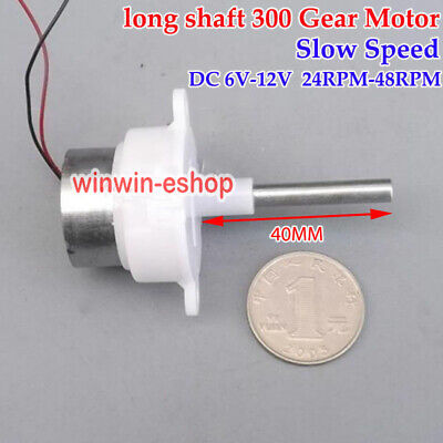 Long Shaft 300 Gear Motor DC 6V~12V 48RPM Slow Speed Turbine Worm Gearbox Motor