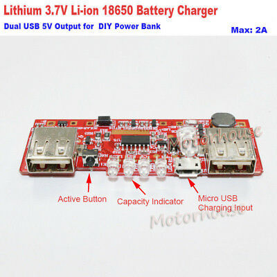 Dual USB Charger Board 5V 3.7V Lithium Li-ion 18650 Battery DIY Phone Power Bank