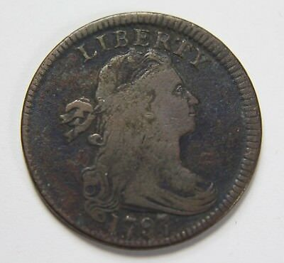 1797 Draped Bust Large Cent Flowing Hair Plain Edge Penny US Coin NR P1R H070
