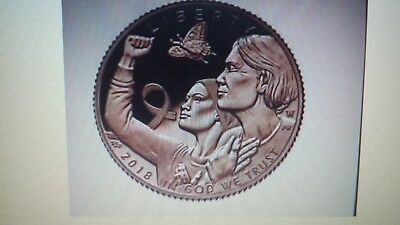 Breast Cancer Awareness 2018 Proof $5 Pink Gold Coin  Item#18CE----PRE-SALE----
