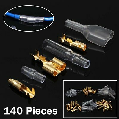 140pcs 3.9mm Car Motorcycle Brass Bullet Connectors Male&Female Wire Terminal
