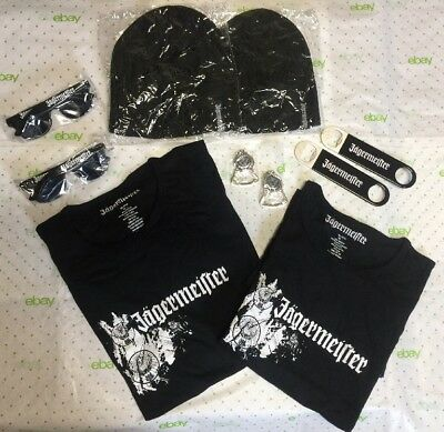 New Jagermeister Gear GIFT bundle Lot! Large Shirts Sunglasses Bar Keys Beanies