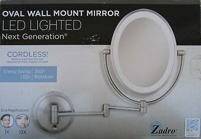 Zadro LOVLW410 Cordless DUAL LED Lighted Oval Wall Mount Mirror 1X & 10X , NEW