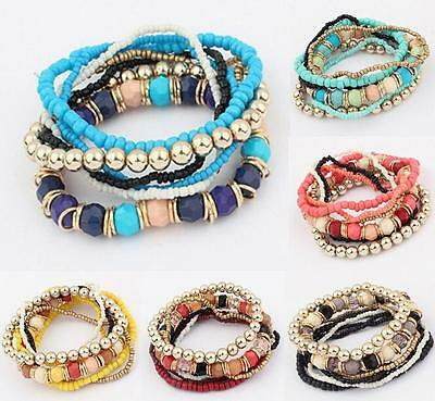 Trendy Bohemian Hippy Multilayer Bead Bracelet tretchy Bangle Boho Gypsy HOT NEU