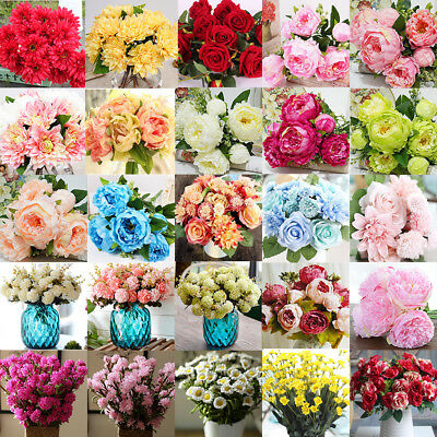 Rose Silk Fake Flower Bouquet Artificial Wedding Party Floral Home Decor Lot