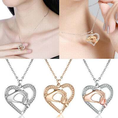 Mother/'s DayMom Hold Kids Children Hand Love Heart Pendant Charm Chain Necklace@