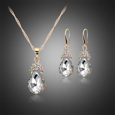 Crystal Earrings Necklace Set Wedding Party Bridal Bridesmaid Jewelry Rhinestone