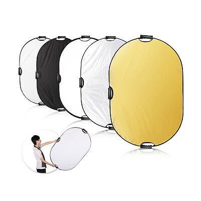 Photography 60x90cm 5in1 Light Mulit Collapsible Photo Reflector Disc + Handles
