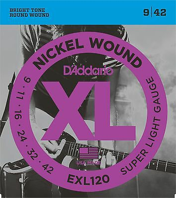 D'Addario EXL120 Electric Guitar Strings, Super Light, 9-42 (2 Complete Sets)