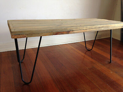 Recycled Timber Coffee Table Rustic Vintage Solid Timber Black Hairpin Legs