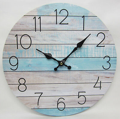 New 34cm Rustic Clock Beach & Seaside Theme with Aged Look Soft Blue Boards