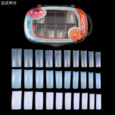 100 PCS False Nail Acrylic UV Gel Half cover Nail Art Tips Tools for finger DIY