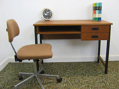 Small Retro Teak Desk, vintage industrial look metal frame, drawers Northants