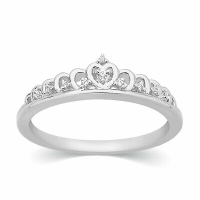 1/20 Ct Round Cut 100% Natural Diamond Heart Crown Ring 14k White Gold Fn Silver