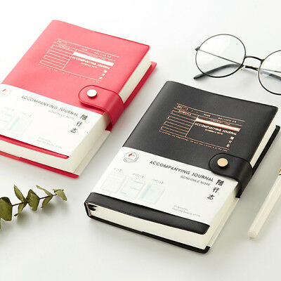 """""""Good Job"""" 1pc Faux Leather Business Notebook Monthly Daily Planner Grid Journal"""
