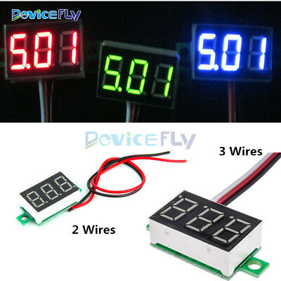 0.36 inch 2/3 Lines Wires DC3-30V DC0-30V LED Voltage Meter 3-Digital Voltmeter