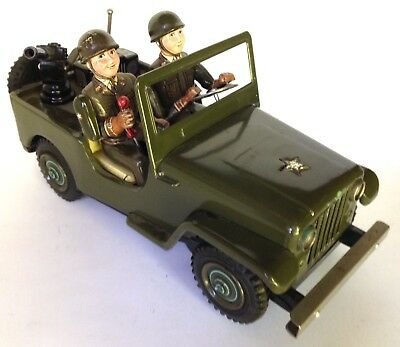Vintage 60-Year-Old US Army Jeep & Soldiers Battery Operated Metal Toy MIJapan