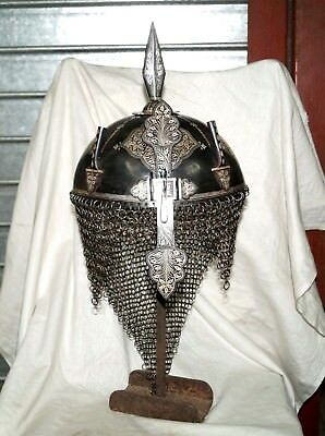 nice indo Persian iron silver koftgari  decorative helmet  not sword