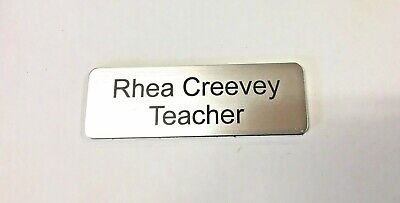 Brushed Silver Name Badge with pin attached Laserable Plastic 70 x 23 mm