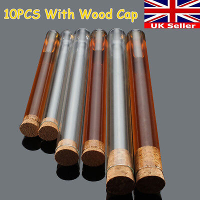 10pcs LARGE Glass Test Tubes With Cap 3 Size - 20 x200mm - 18x180mm - 15x150mm