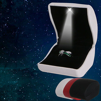 LED Light Jewelry Earring Ring Box Faux Leather Wedding Engagement Display Case