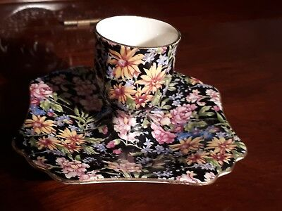 ROYAL WINTON RARE BLACK CHINTZ ' NANTWICH 'EGGCUP ON A SAUCER' - England