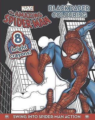 NEW MARVEL SPIDERMAN black paper colouring with 8 BRIGHT CRAYONS