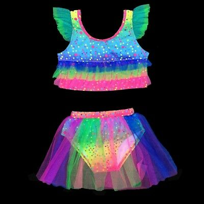 Girls swimming suits Swimwear rainbow Bathing suit Bikini Toddlers 2pcs set O52