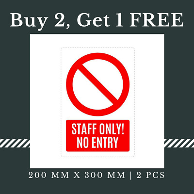 5 x Staff Only No Entry Sign Waterproof Self Adhesive Sticker, 200 x 300 mm