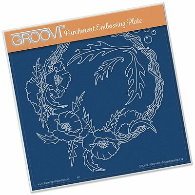CLARITY STAMP GROOVI Parchment Embossing Plate TWIG POPPY WREATH GRO-FL-40074-03