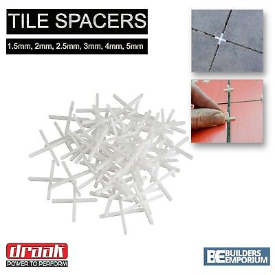 Tile Spacers 1.5mm, 2mm, 2.5mm, 3mm, 4mm & 5mm ALL SIZES GROUTING DRAAK