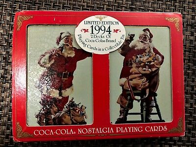 1994 Coca-Cola Santa / Christmas Playing Cards in Collectible Tin - New