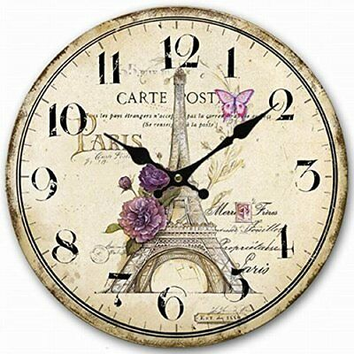 Paris Carte Post Design Wood Wall Clock Vintage French Country Retro Style Decor