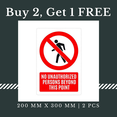 5 x No Entry No Unauthorized Person Sign Waterproof Adhesive Sticker, 200x300 mm