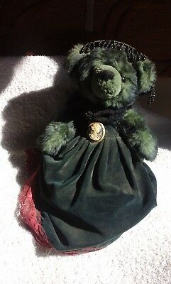 Vintage Teddy green female in green velour dress and hat with broach & knickers