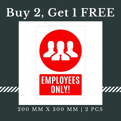 5 x No Entry Employee Only Sign Waterproof Self Adhesive Sticker, 200 x 300 mm