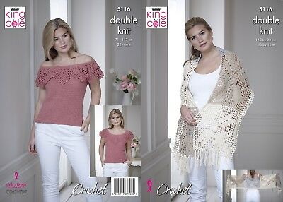 KINGCOLE 5116 Ladies DK Crochet Top PATTERN 28-46IN -not the finished garments