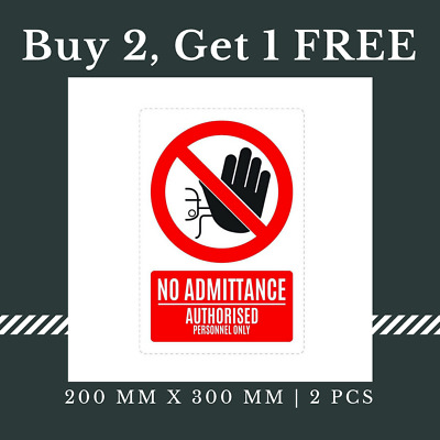 5 x No Admittance Authorized Personnel Only Sign Waterproof Sticker, 200x300 mm