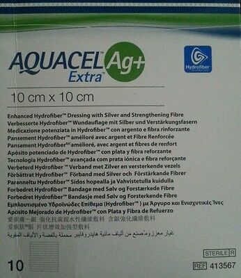 AQUACEL  ag+ extra   .10 each. hydrofiber dressings. 10cm x 10cm