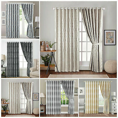 Jacquard Ring Top Fully Lined Pair Eyelet Ready Made Curtains With 2 Tie Backs