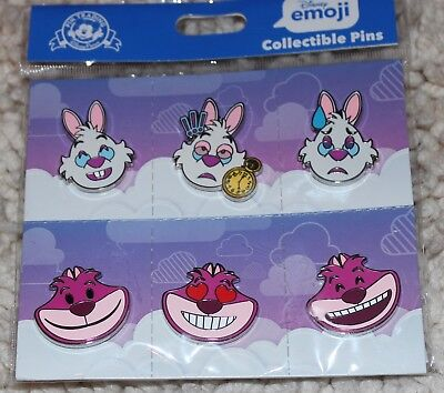 Disney Alice In Wonderland White Rabbit And Cheshire Emoji 6 Pin Booster Pack