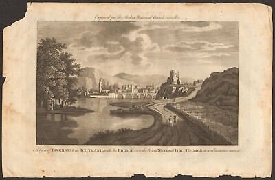 1779 ca ANTIQUE PRINT- INVERNESS - VIEW OF INVERNESS WITH BRIDGE AND FORT GEORGE