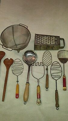 lot of 10 vintage antique kitchen utensils tool gadgets