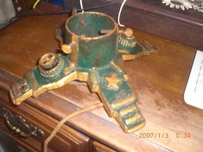 Painted Cast Iron ANTIQUE Christmas Tree Stand STARS