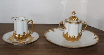 Antique AK & Co. French Limoges Gold Gilded Creamer, Covered Sugar Bowl & Dishes
