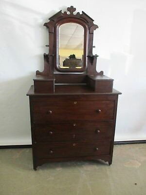 Antique 1880's Solid Wood Mahogany Finish Cabinet Chest Vanity Dresser & Mirror