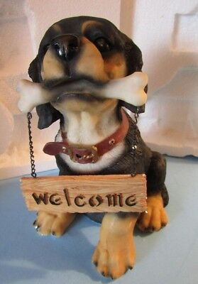 NIB Motion Activated Barking Dog Animal Statue Figurine Lawn Decor Welcome Sign