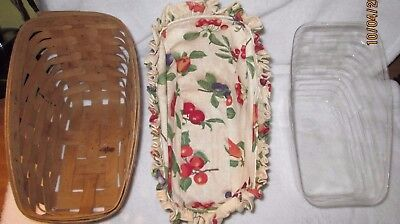 LONGABERGER Small Vegetable SLEIGH Basket WITH PLASTIC LINER AND LINEN STAMPED
