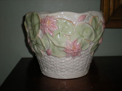 French Country Ceramic Lily Pad Motif Planter Urn Jardiniere Shabby Chic Pastel