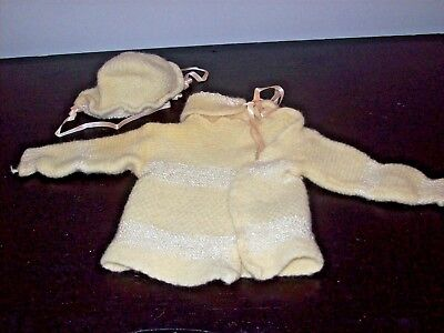 Vintage Hand Crochet Baby Sweater & Hat Pink Ribbons Vintage Buttons